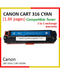 Canon 316 / Cartridge 316 / CRG 316 / CART 316 CY High Quality Compatible Color Laser Toner Cyan Cartridge for Canon LBP-5050 LBP 5050 LBP5050 / LBP-5050n LBP 5050n LBP5050n Printer Ink