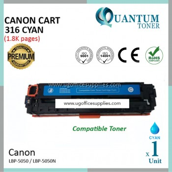 Canon 316 / Canon Cartridge 316 / CRG 316 / CART 316 CY High Quality Compatible Color Laser Toner Cyan Cartridge for Canon LBP-5050 LBP 5050 LBP5050 / LBP-5050n LBP 5050n LBP5050n Printer Ink