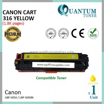 Canon 316 / Canon Cartridge 316 / CRG 316 / CART 316 YW High Quality Compatible Color Laser Toner Yellow Cartridge for Canon LBP-5050 LBP 5050 LBP5050 / LBP-5050n LBP 5050n LBP5050n Printer Ink