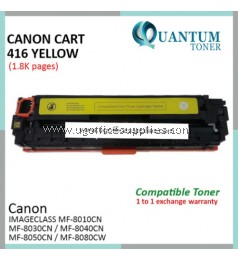 Canon 416 / Canon Cartridge 416 / Canon CRG 416 / Canon CART 416 YW High Quality Compatible Color Laser Toner Yellow Cartridge for Canon Imageclass MF8010cn / MF8030cn / MF8040cn / MF8050cn / MF8080cw Printer Ink