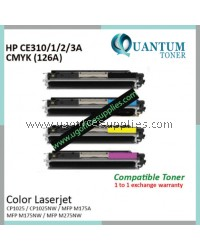 ( Full Set ) HP 126A CE310A Black / CE311A Cyan / CE312A Yellow / CE313A Magenta High Quality Compatible Laser Toner for HP LaserJet Pro CP1025 / CP1025NW / MFP M175 / MFP M175A / MFP M175NW / MFP M275NW Printer Ink