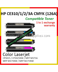 (FULL SET) HP 126A CE310A Black / CE311A Cyan / CE312A Yellow / CE313A Magenta High Quality Compatible Laser Toner for HP LaserJet Pro CP1025 / CP1025NW / MFP M175 / MFP M175A / MFP M175NW / MFP M275NW Printer Ink
