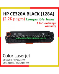 HP 128A / CE320A High Quality Compatible Color Laser Toner Black Cartridge for HP Color LaserJet Pro CP1525 CP1525N / CP1525NW / MFP CM1415 CM1415FN / CM1415FNW Printer Ink