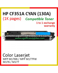 HP 130A / CF351A High Quality Compatible Color Laser Toner Cyan Cartridge for HP Color LaserJet Pro MFP M176N / MFP M177FW / MFP M176 / MFP M177 Printer Ink
