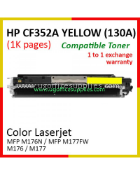 HP 130A / CF352A High Quality Compatible Color Laser Toner Yellow Cartridge for HP Color LaserJet Pro MFP M176N / MFP M177FW / MFP M176 / MFP M177 Printer Ink