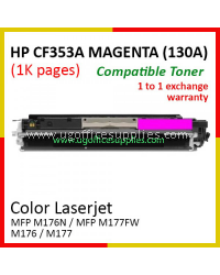 HP 130A / CF353A High Quality Compatible Color Laser Toner Magenta Cartridge for HP Color LaserJet Pro MFP M176N / MFP M177FW / MFP M176 / MFP M177 Printer Ink