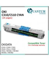 OKI C310 / C510 / 44469757 CY High Quality Compatible Color Laser Toner Cyan for OKIDATA Color LaserJet C310DN C330DN C331 C510DN C511DN C530DN C531DN MC351DN MC361DN MC352DN MC561 MC562DNW MC362 MC561 MC561DN MC562 MC562DN Printer Ink