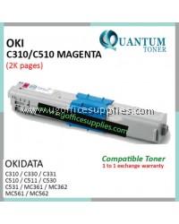 OKI C310 / C510 / 44469756 MG High Quality Compatible Color Laser Toner Magenta for OKIDATA Color LaserJet C310DN C330DN C331 C510DN C511DN C530DN C531DN MC351DN MC361DN MC352DN MC561 MC562DNW MC362 MC561 MC561DN MC562 MC562DN Printer Ink