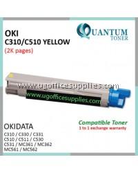 OKI C310 / C510 / 44469755 YW High Quality Compatible Color Laser Toner Yellow for OKIDATA Color LaserJet C310DN C330DN C331 C510DN C511DN C530DN C531DN MC351DN MC361DN MC352DN MC561 MC562DNW MC362 MC561 MC561DN MC562 MC562DN Printer Ink