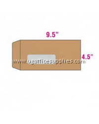 "BROWN ENVELOPE (MANILA) 9 1/2"" X 4 1/2"" WITH WINDOW"