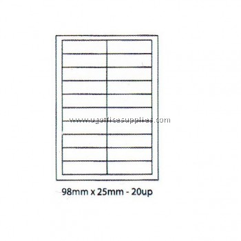 A4 BLANK STICKER 98mm x 25mm 20 ups