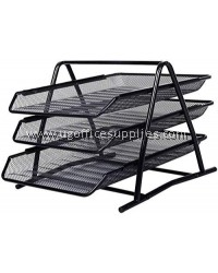 3 TIERS METAL DOCUMENT TRAY (BLACK)