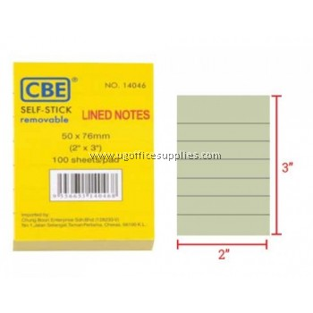 """CBE 14046 Post It Note (Lined Notes) 2"""" x 3"""""""