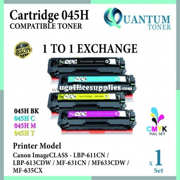 ( FULL SET ) Canon 045H 045 Cartridge 045 045H Black + CRG 045H Cyan + CRG 045H Yellow + CRG 045H Magenta High Quality Compatible Color Cartridge for Canon LBP611 LBP611cn LBP613 LBP613cdw MF631 MF631Cn MF633 MF633Cdw MF635 MF635Cx Printer Ink