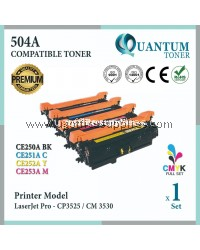 ( Full Set ) HP 504A / CE250A Black + CE251A Cyan + CE252A Yellow + CE253A Magenta High Quality Compatible Laser Toner For HP Color LaserJet CP3525 / CP3525n / CP3525dn / CP3525x / CM3530 / CM3530fs Printer Ink