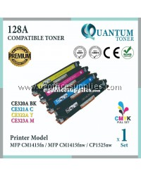 ( Full Set ) HP 128A CE320A Black + CE321A Cyan + CE322A Yellow + CE323A Magenta High Quality Compatible Laser Toner For HP LaserJet Pro CP1525 CP1525n / CP1525nw / MFP CM1415 CM1415fn / CM1415fnw Printer Ink