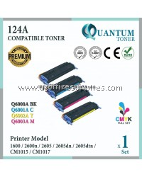 ( Full Set ) HP 124A / Q6000A Black + Q6001A Cyan + Q6002A Yellow + Q6003A Magenta High Quality Compatible Laser Toner For HP LaserJet 1600 / 2600 / 2600n / 2605dn / 2605 / 2605dtn / CM1015 / CM1017 Printer Ink