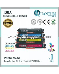 ( Full Set ) HP 130A / CF350A Black + CF351A Cyan + CF352A Yellow + CF353A Magenta High Quality Compatible Laser Toner For HP LaserJet Pro MFP M176n / MFP M177fw / MFP M176 / MFP M177 Printer Ink