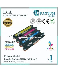 ( Full Set ) HP 131A CF210A Black + CF211A Cyan + CF212A Yellow + CF213A Magenta High Quality Compatible Laser Toner For HP LaserJet Pro 200 Color M251n / Pro 200 M251nw / Pro 200 MFP M276n / Pro 200 MFP M276nw Printer Ink