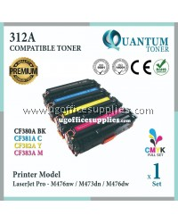 ( Full Set ) HP 312A / CF380A Black + CF381A Cyan + CF382A Yellow + CF383A Magenta High Quality Compatible Laser Toner For HP LaserJet Pro MFP M476nw / MFP M476dn / MFP M476dw Printer Ink