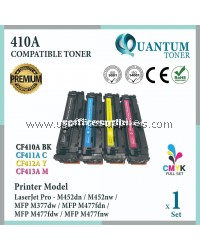( Full Set ) HP 410A / CF410A Black + CF411A Cyan + CF412A Yellow + CF413A Magenta High Quality Compatible Laser Toner For HP LaserJet Pro M452dw / M452nw / MFP M477fdw / MFP M477dn / MFP M477fnw / MFP M377dw Printer Ink