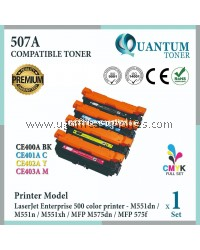 ( Full Set ) HP 507A / CE400A Black + CE401A Cyan + CE402A Yellow + CE403A Magenta High Quality Compatible Laser Toner For HP LaserJet Enterprise 500 M551dn / M551n / M551xh / MFP M575dn / MFP M575f / MFP M575c / MFP M570dn Printer Ink