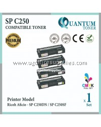 ( Full Set ) Ricoh SP C250 / SPC250 / SPC 250 Black + Cyan + Yellow + Magenta High Quality Compatible Laser Toner For SP C250DN SPC250 SP C250 SPC250DN SPC 250 SP C250SF SPC250SF SP250 SPC250D Printer Ink