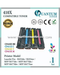 ( Full Set ) HP 410X / CF410X Black + CF411X Cyan + CF412X Yellow + CF413X Magenta High Quality High Yield Compatible Laser Toner For HP LaserJet Pro M452dw / M452nw / MFP M477fdw / MFP M477dn / MFP M477fnw / MFP M377dw Printer Ink