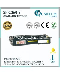 Ricoh SP C260 SPC260 YW High Quality Compatible Laser Toner Yellow Cartridge for Ricoh Aficio SPC260 SPC261 / SP C260 SP C261 / SPC260DNW SPC261SF SPC261SW SPC261DNW SPC261SFNW / SP C260DNW SP C261SF SP C261SW SP C261DNW SP C261SFNW Printer Ink