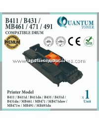 Oki B411 Drum High Quality Compatible Drum Cartridge for Oki B431 / B411 / B411d / B411dn / B431d / MB461 / B431dn / MB471 / MB471w / MB471dnw / MB491 / MB491dn Printer (Drum Only)