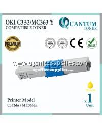 Oki C332 YW High Quality Compatible Laser Toner Yellow Cartridge for Okidata C332 / MC363 / C332dn / MC363dn Printer Ink