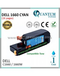 Dell C1660 / Dell C-1660 / Dell 1660 CY High Quality Compatible Color Laser Toner Cyan Cartridge for Dell Color LaserJet C1660 / C1660w Printer Ink