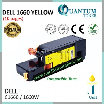 Dell C1660 / Dell C-1660 / Dell 1660 YW High Quality Compatible Color Laser Toner Yellow Cartridge for Dell Color LaserJet C1660 / C1660w Printer Ink